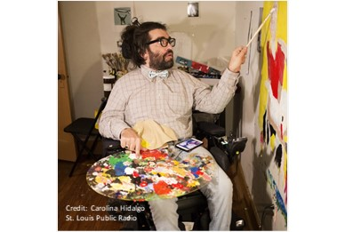 St. Louis Public Radio: White, Male, Queer, Disabled – Chris Worth Incorporates Many Identities Into His Art